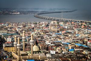 View of Lagos Lagoon and bridge, Nigeria