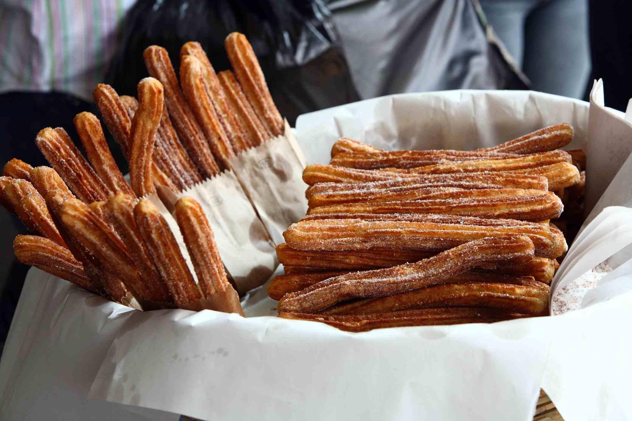 Fresh churros at a street stall