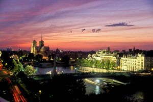 Panoramic view of Paris, France at Dusk