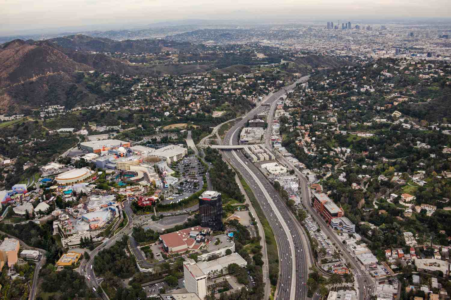 Aerial View over Universal Studios Hollywood