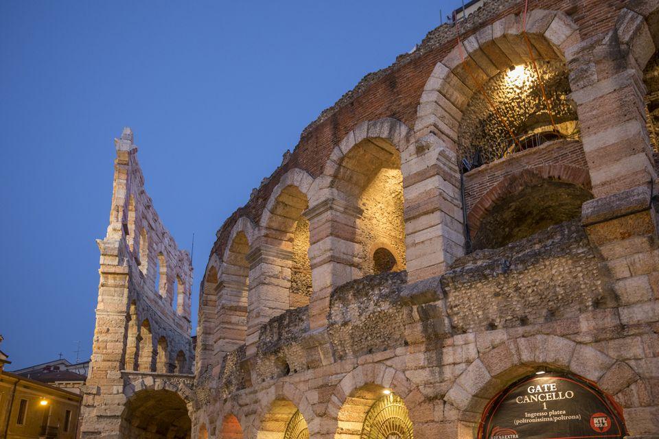 Italy, Veneto, Verona, Roman Arena on Piazza Bra
