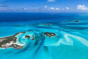 Aerial view of Exuma Islands - Bahamas
