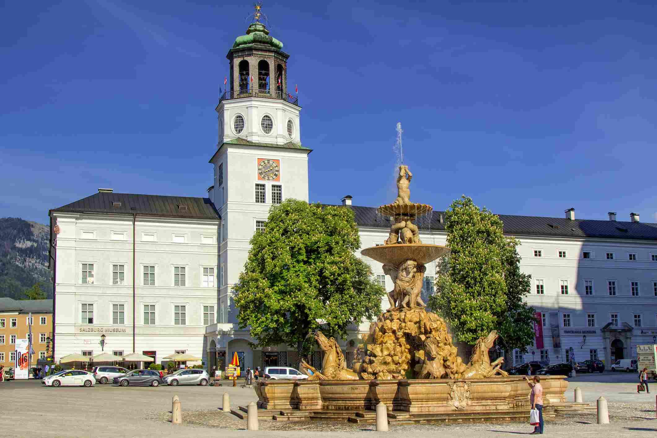 The fountain of the Residenzplatz square in Salzburg