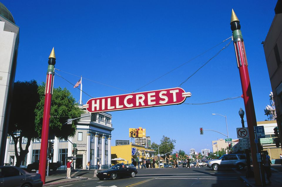 CA, San Diego, Hillcrest sign at University Ave