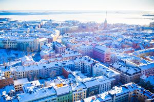 Aerial view over Helsinki on a sunny winter day