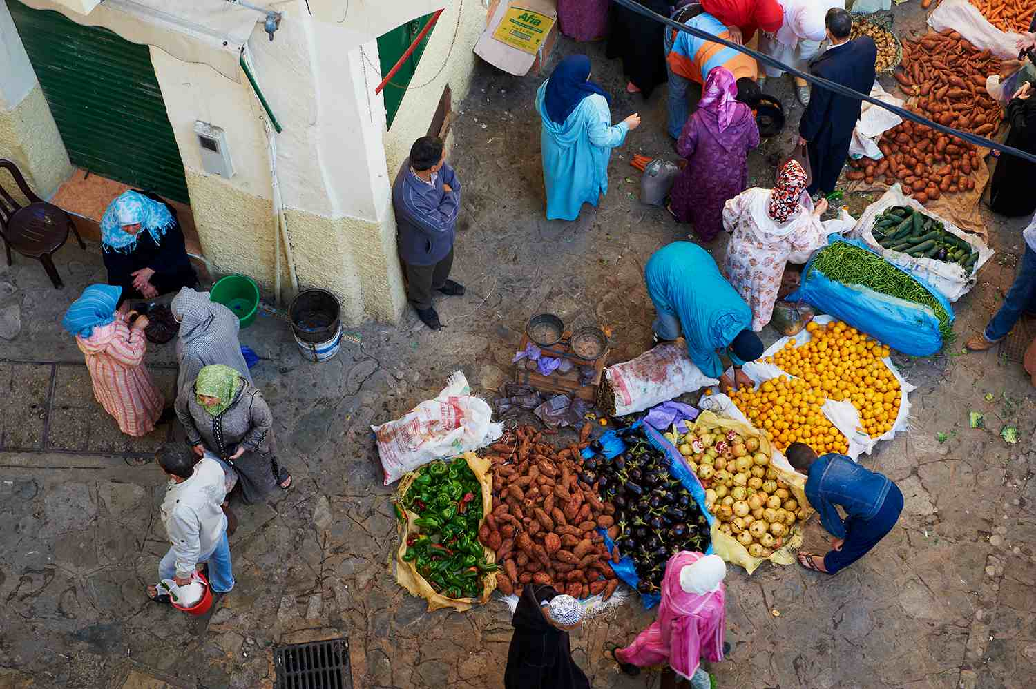 Morocco, Tangier (Tanger), Thursday and Sunday market on the old city.