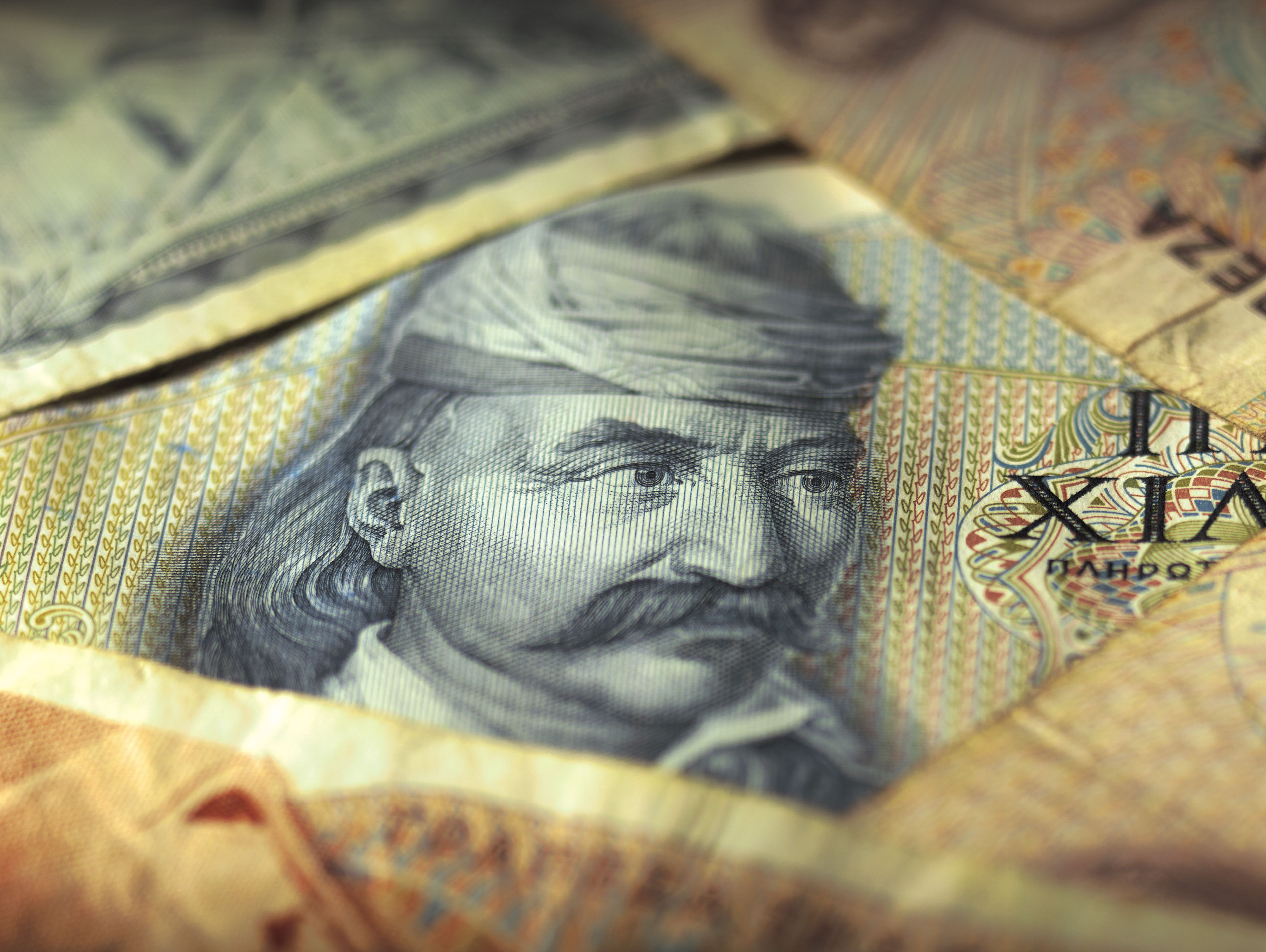 Close-up of Drachma bank notes