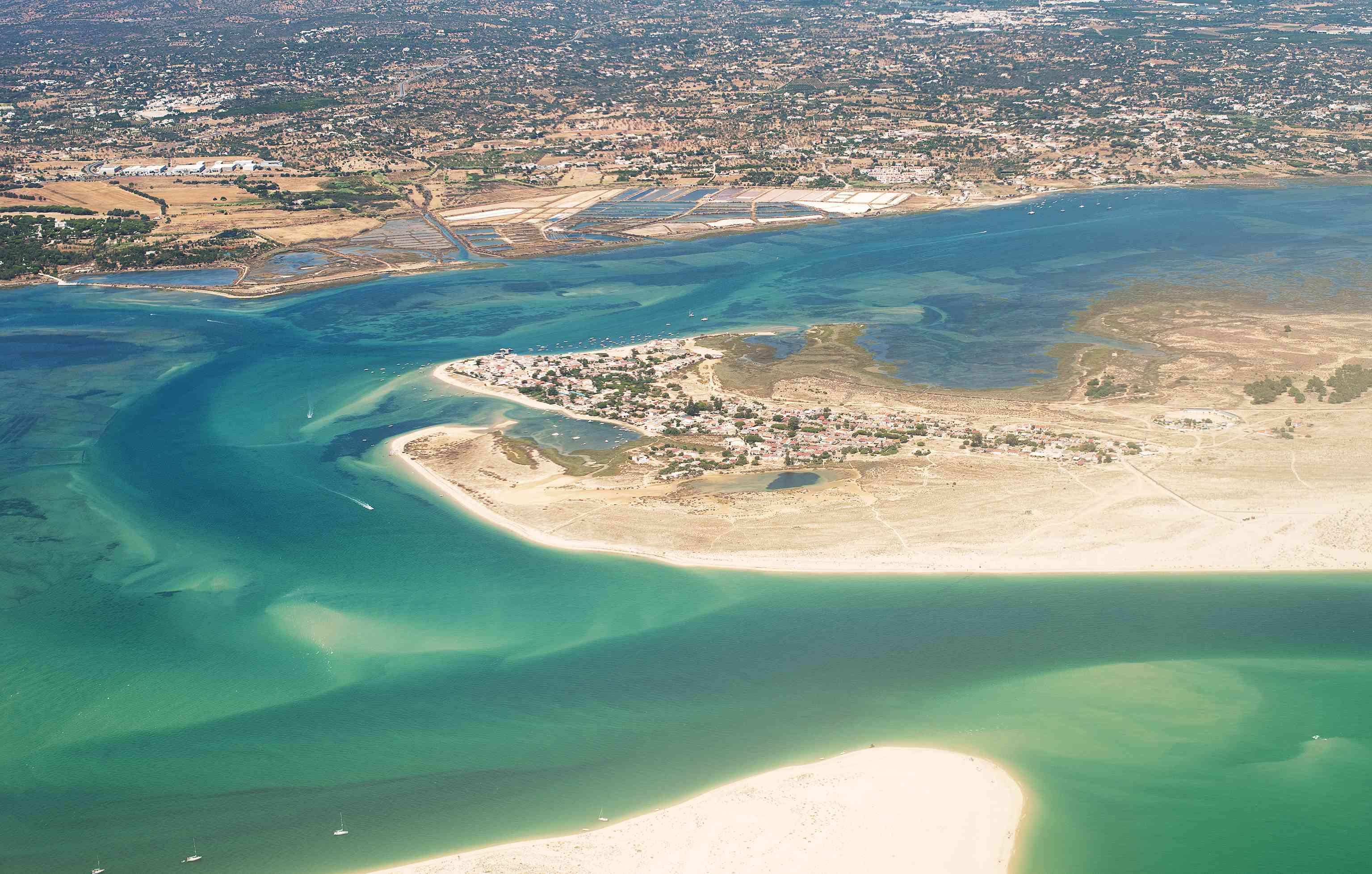 Aerial view of Armona Island, Algarve, Portugal.