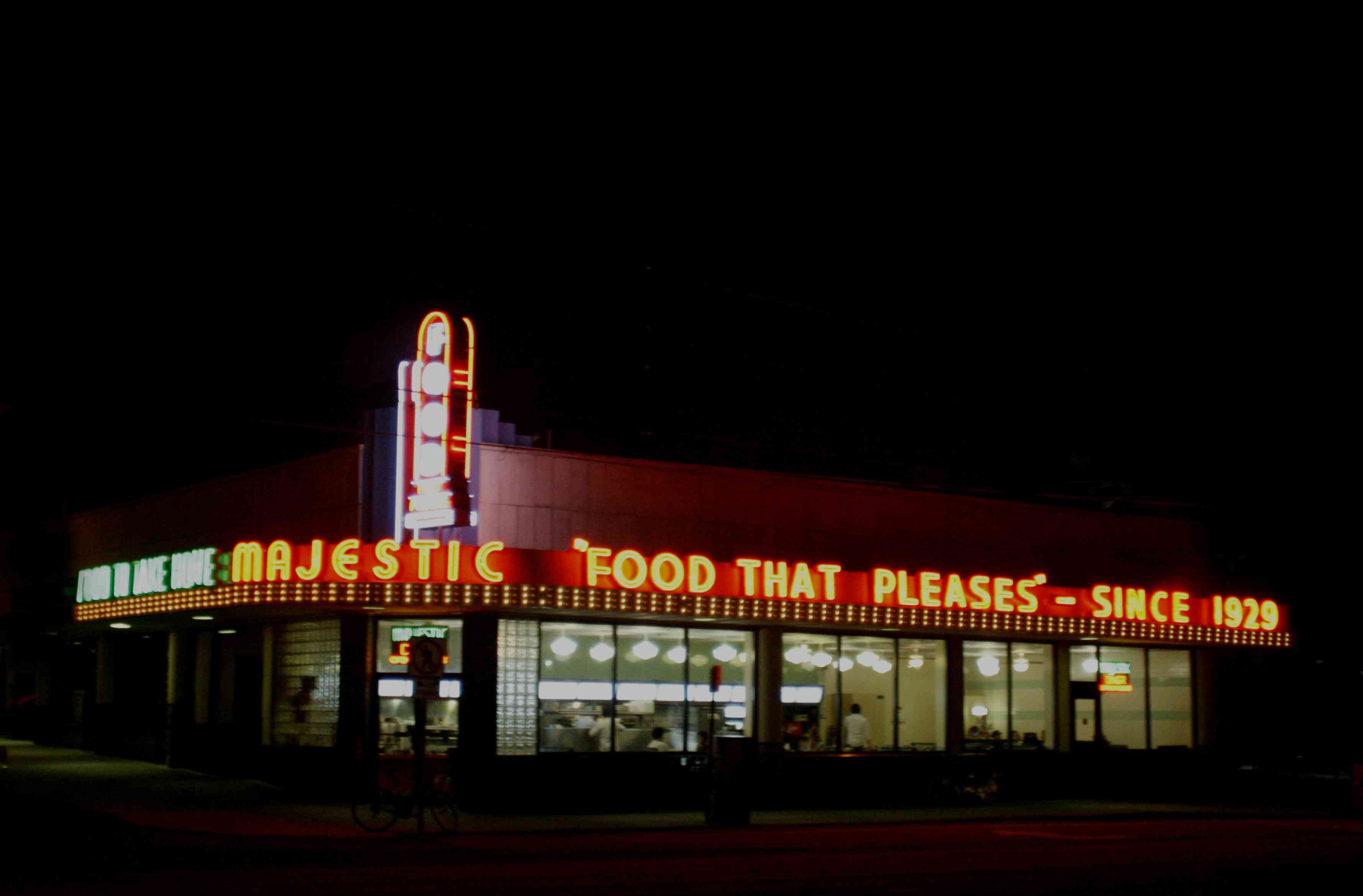 Nighttime view of the exterior of Majestic Diner in Atlanta.