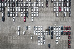 Indonesia, Bali, Aerial view of car park