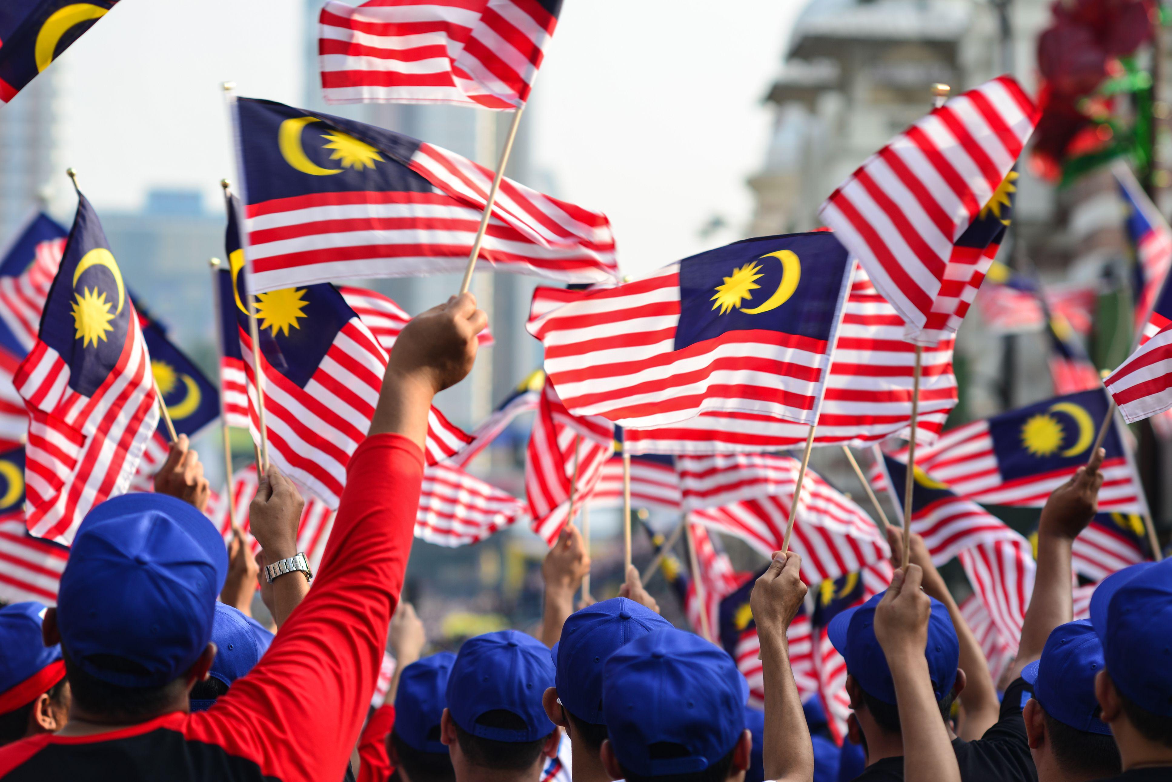 Malaysian flag waving during Malaysia Day celebrations