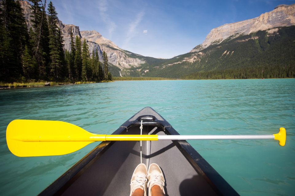 kayaker on Emerald Lake Canada