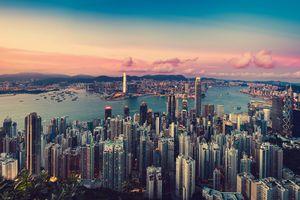 Sunset on the Hong Kong skyline in June