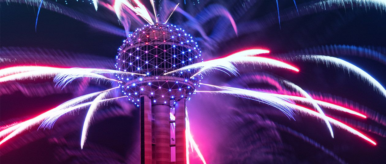 Reunion Tower on NYE with fireworks