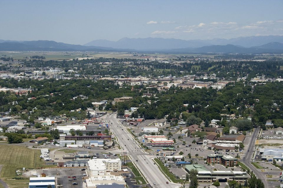 Aerial view of Kalispell, Montana