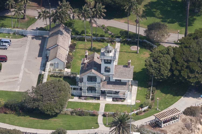 Una vista aérea del faro de Pt. Fermín en San Pedro, Los Ángeles, CA