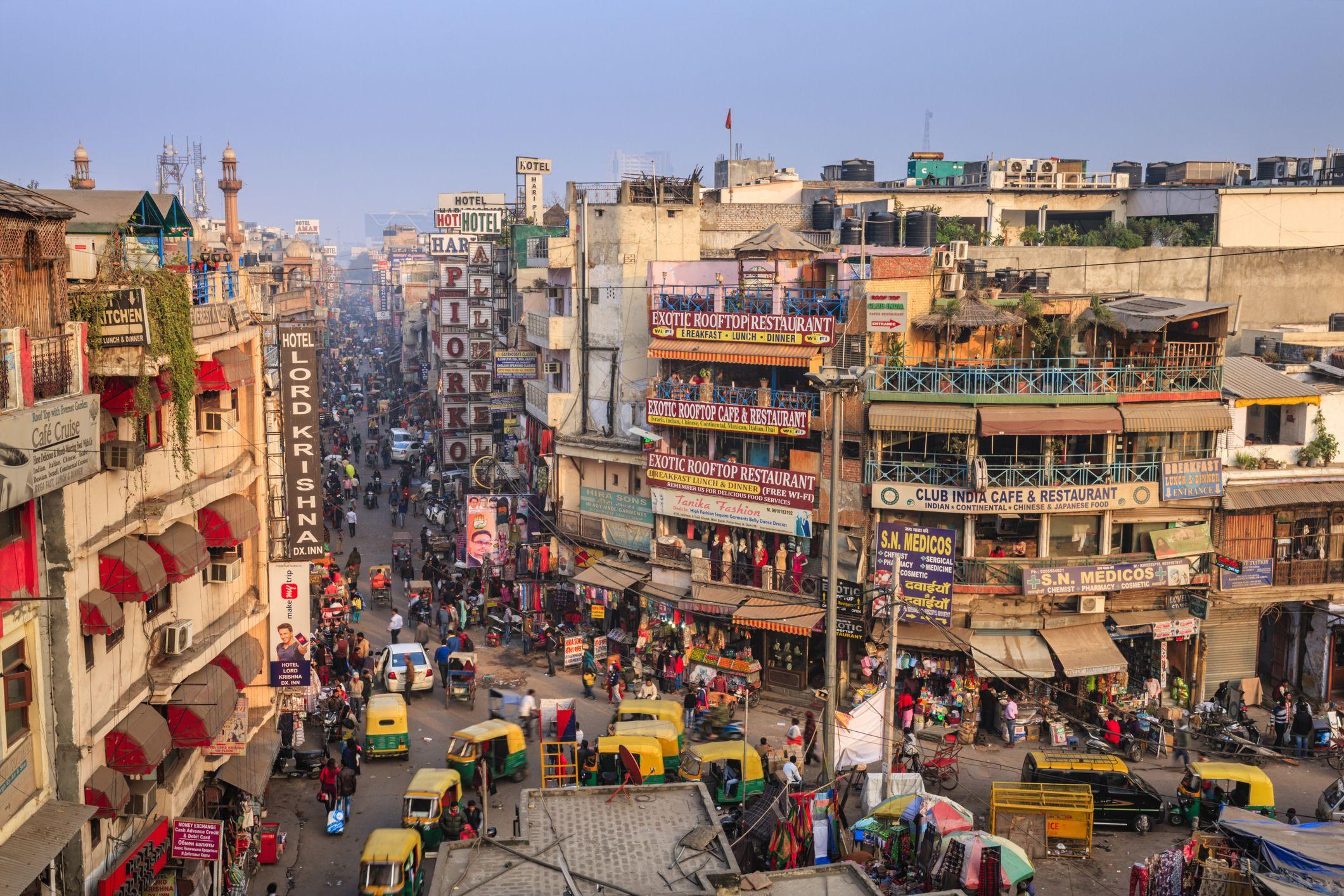 View from above at Paharganj, New Delhi, India