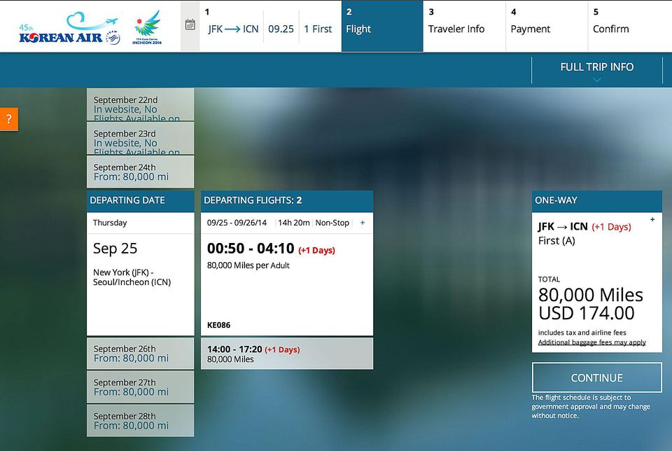 Korean Air Booking Site