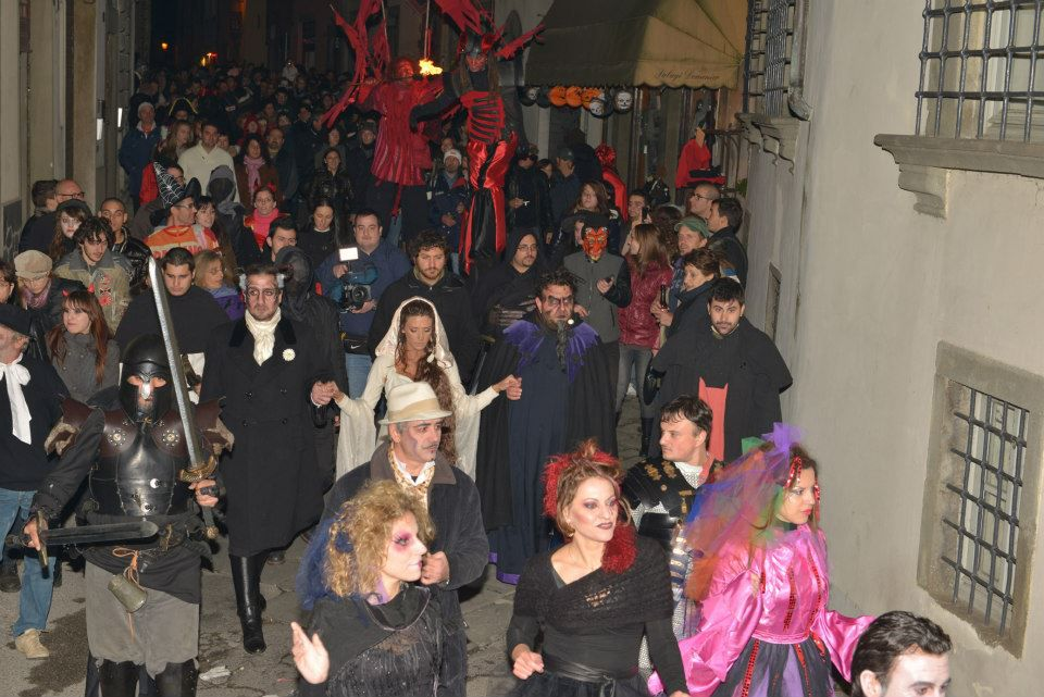 People in costume during Venice's Halloween Celebration