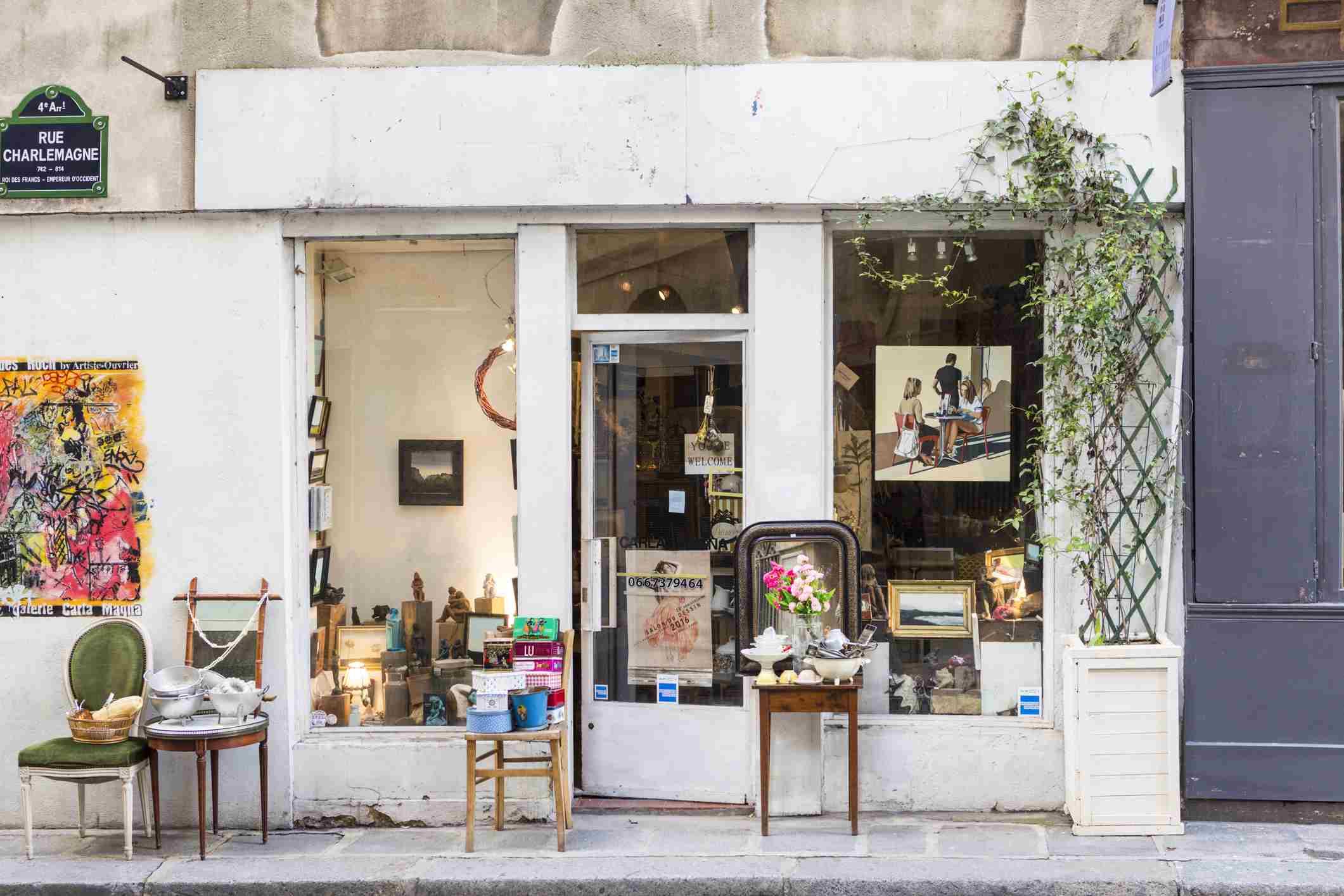 Antique shop on rue Charlemagne in The Village Saint-Paul, Paris