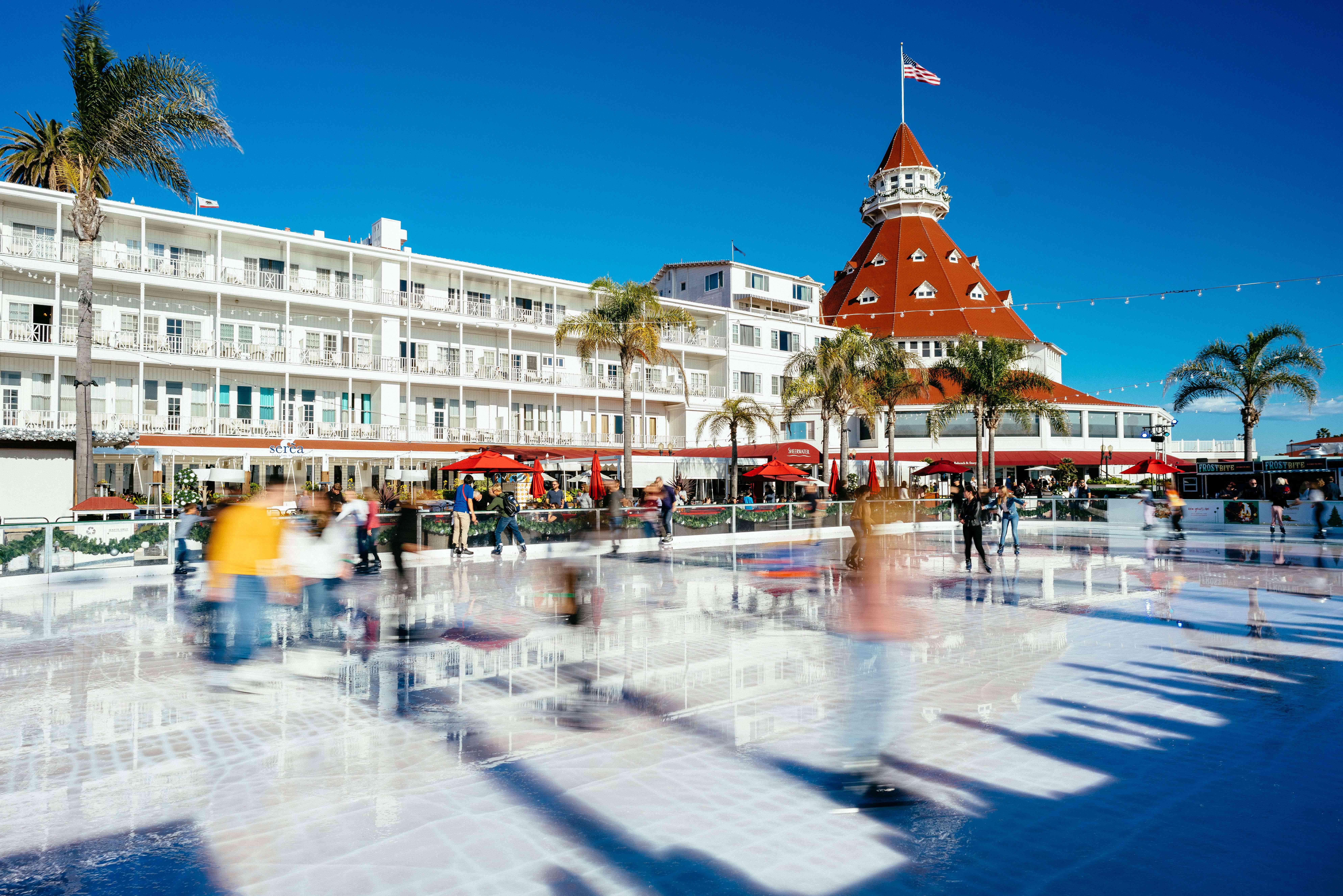 Main pavillion of Coronado passing by the famous hotel