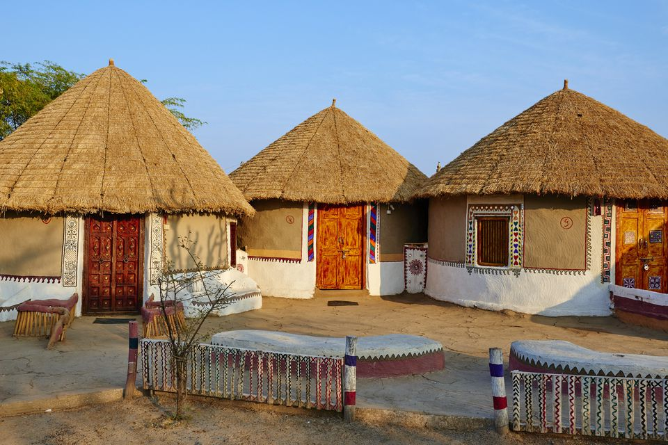 ajustes India, Gujarat, Kutch, pueblo de Hodka