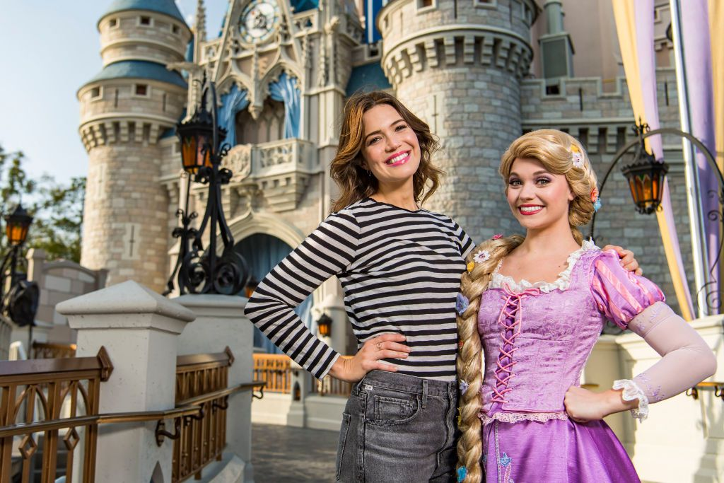 Rapunzel with actress Mandy Moore, who was the voice of Rapunzel in the movie Tangled