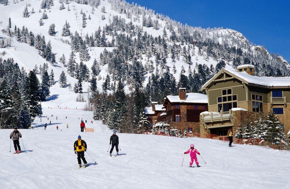 People skiing at Teton Village Ski Resort.