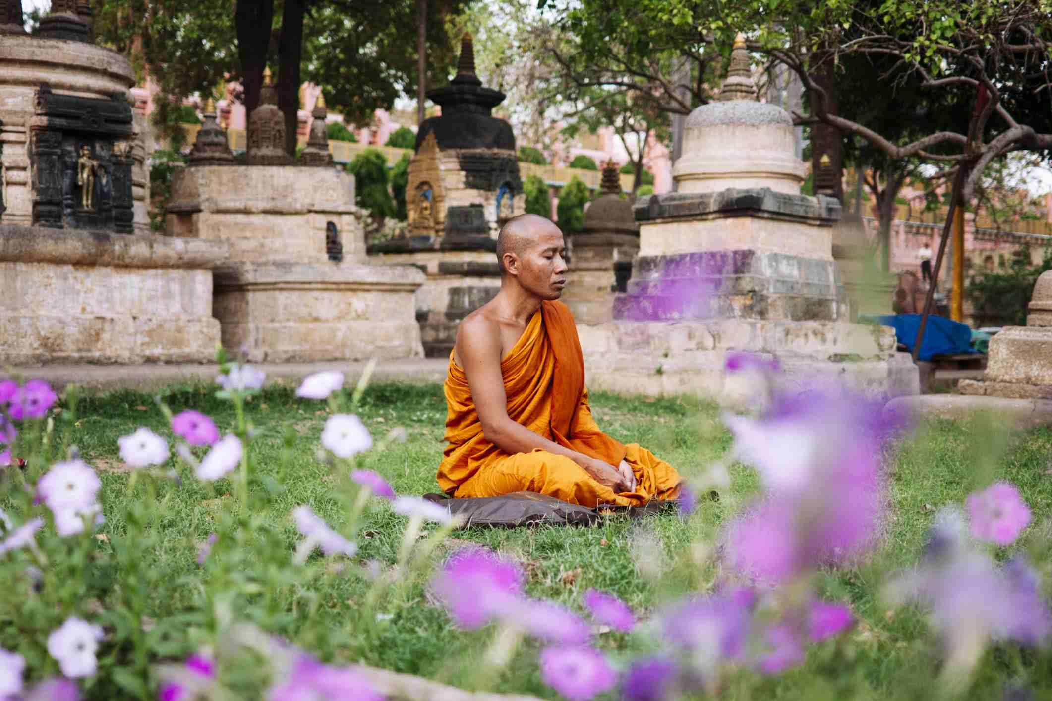 Meditating at Mahabodhi temple