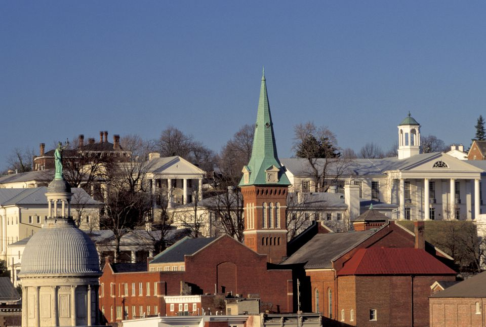 Staunton Skyline With Church Steeple And Government Buildings