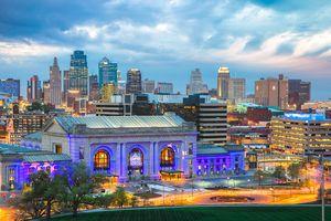 Kansas city lit up at night