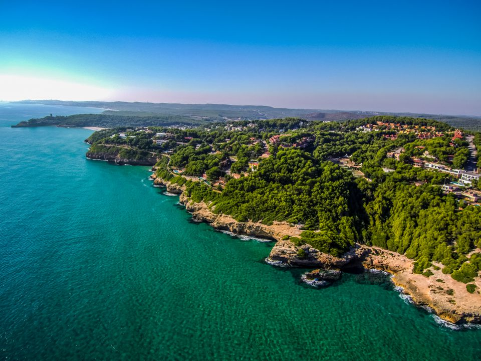 Beach of Tamarit in Tarragona from a Drone (Catalonia, Spain)