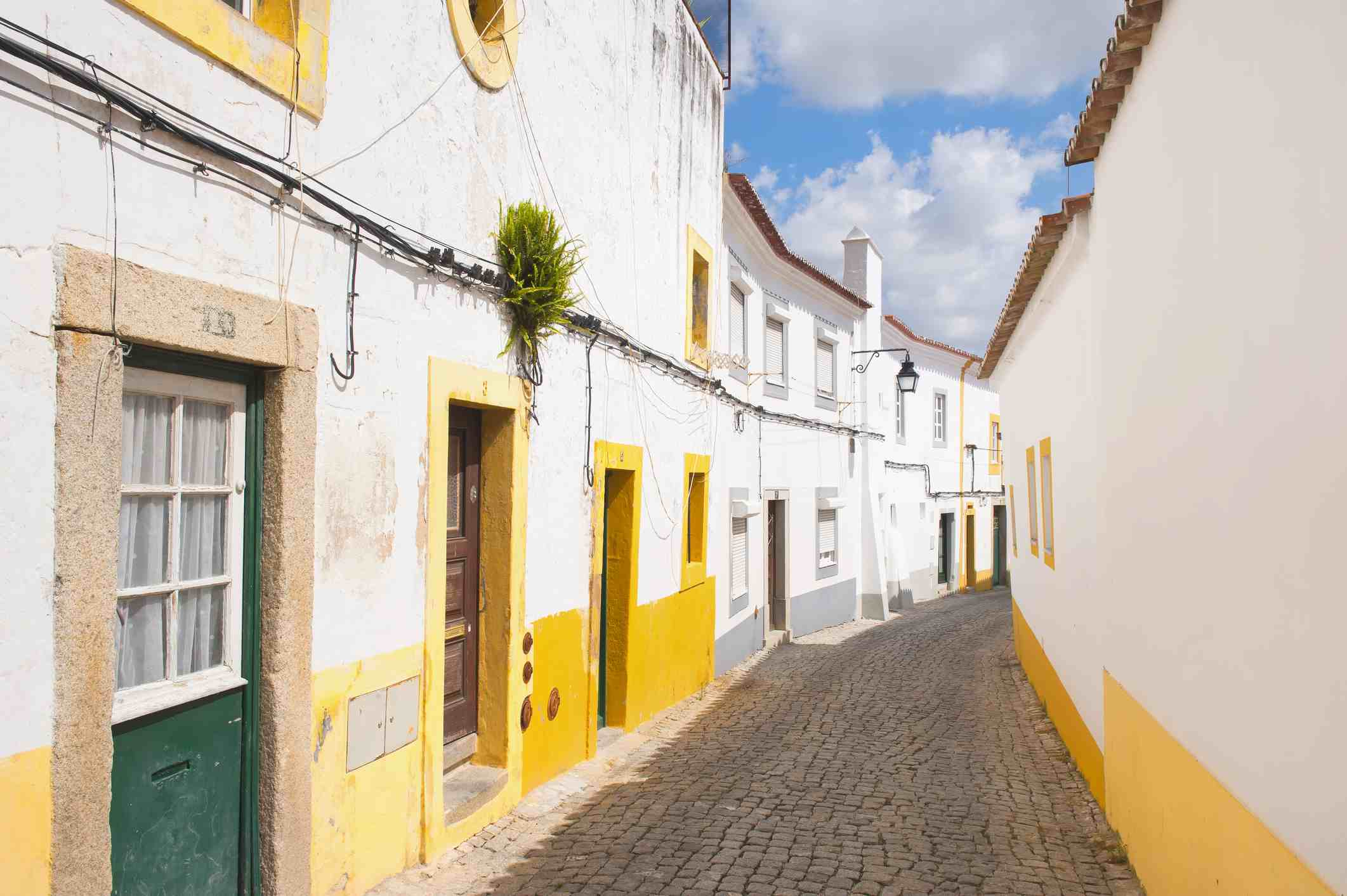 Typical street in the historic city of Evora, Unesco World Heritage Site, Alentejo, Portugal, Europe