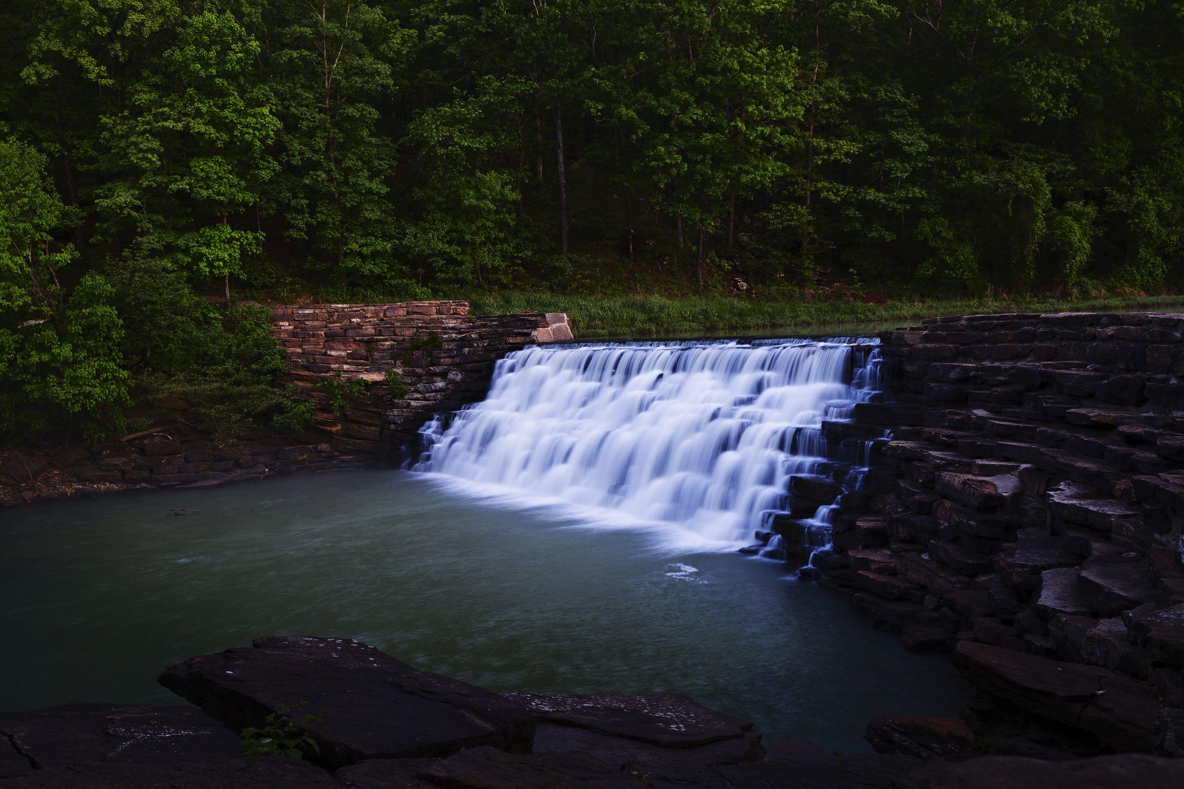 Waterfall at Devil's Den State Park in Arkansas