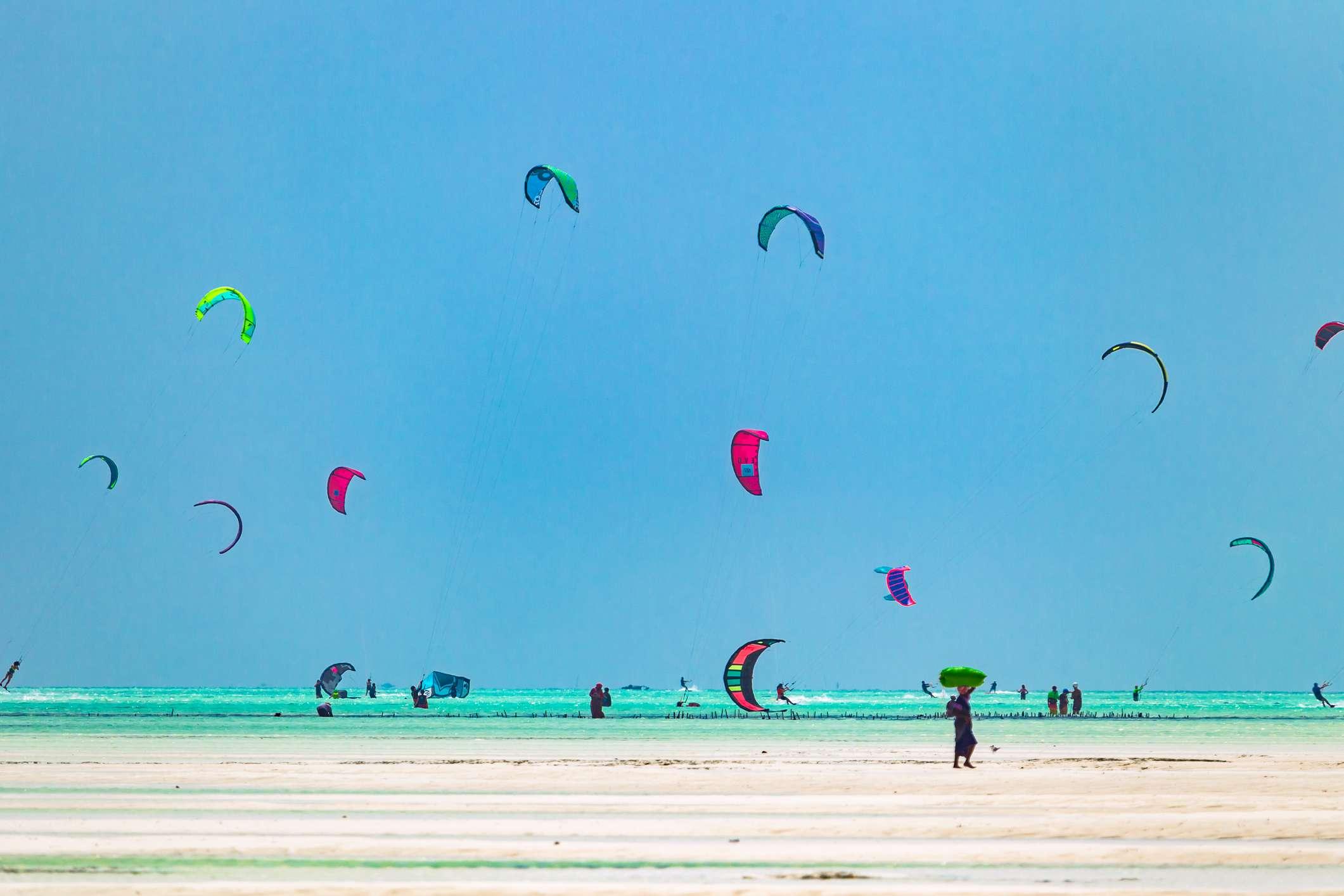 Kitesurfers at Paje Beach, Zanzibar