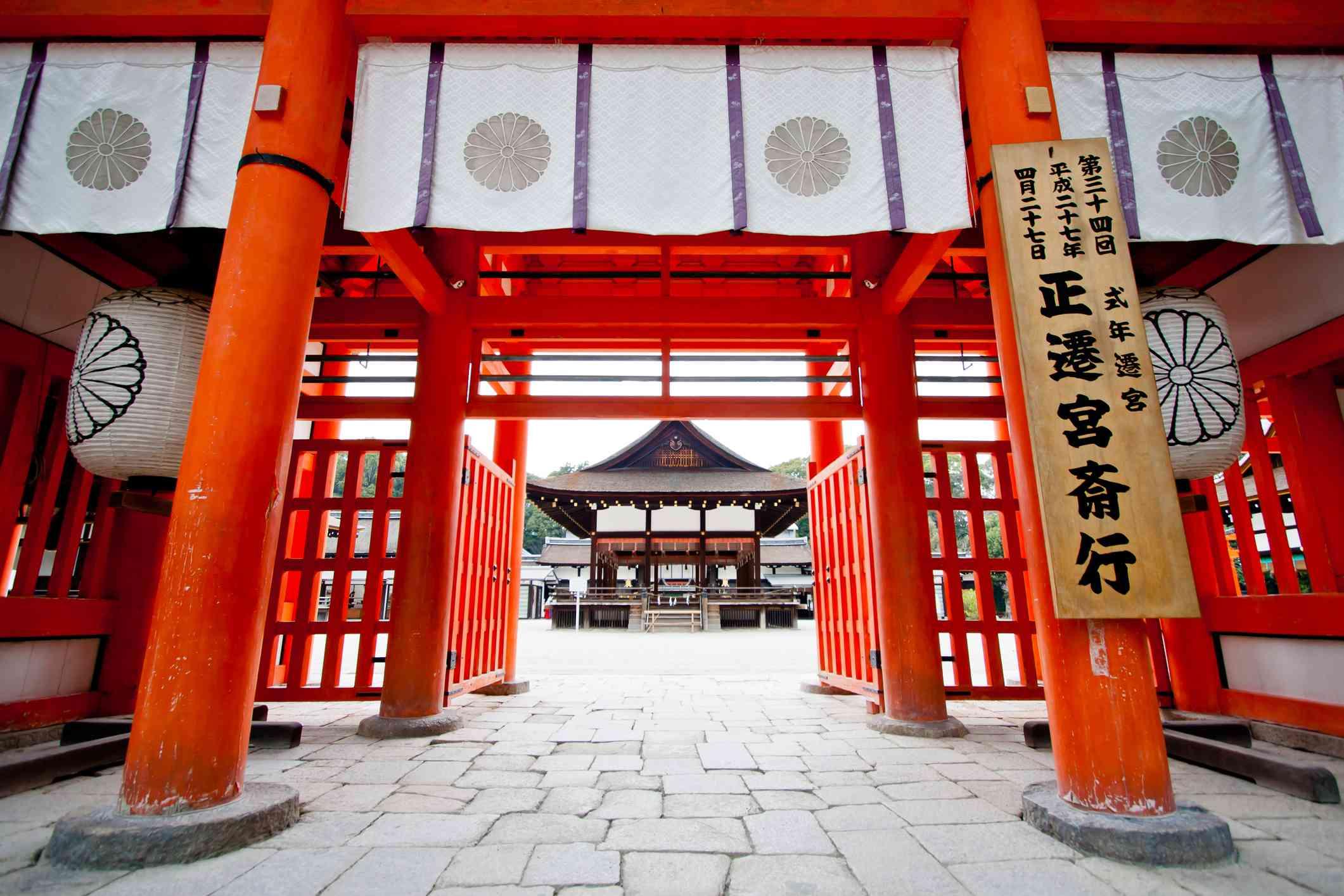 Open red doors into the Shimogamo Shrine kyoto