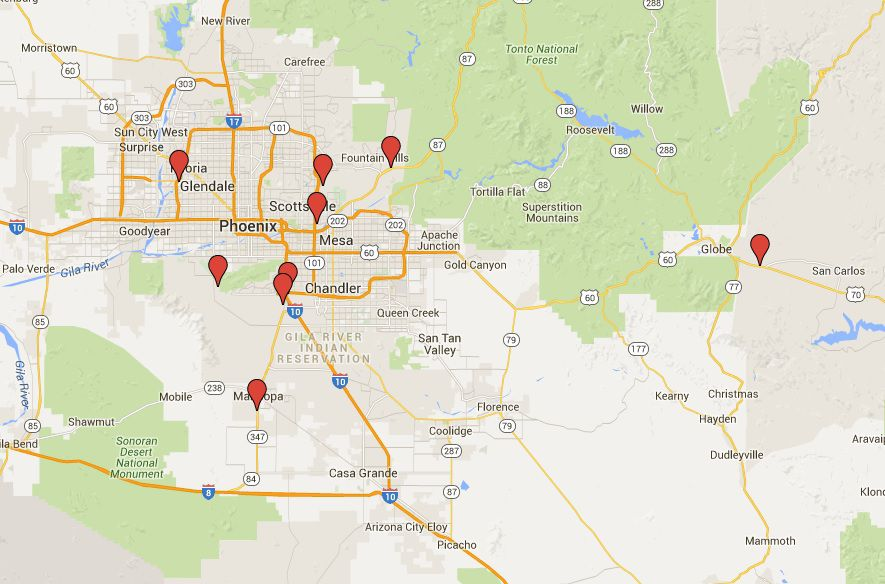 A Map Of Phoenix Arizona.Map And List Of Casinos In The Phoenix Area
