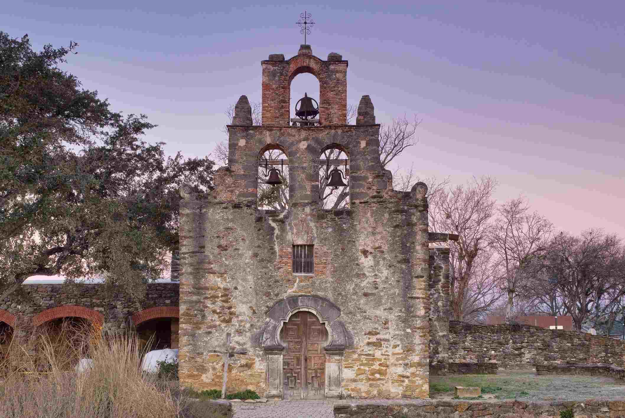 Church at Mission Espada at sunrise.
