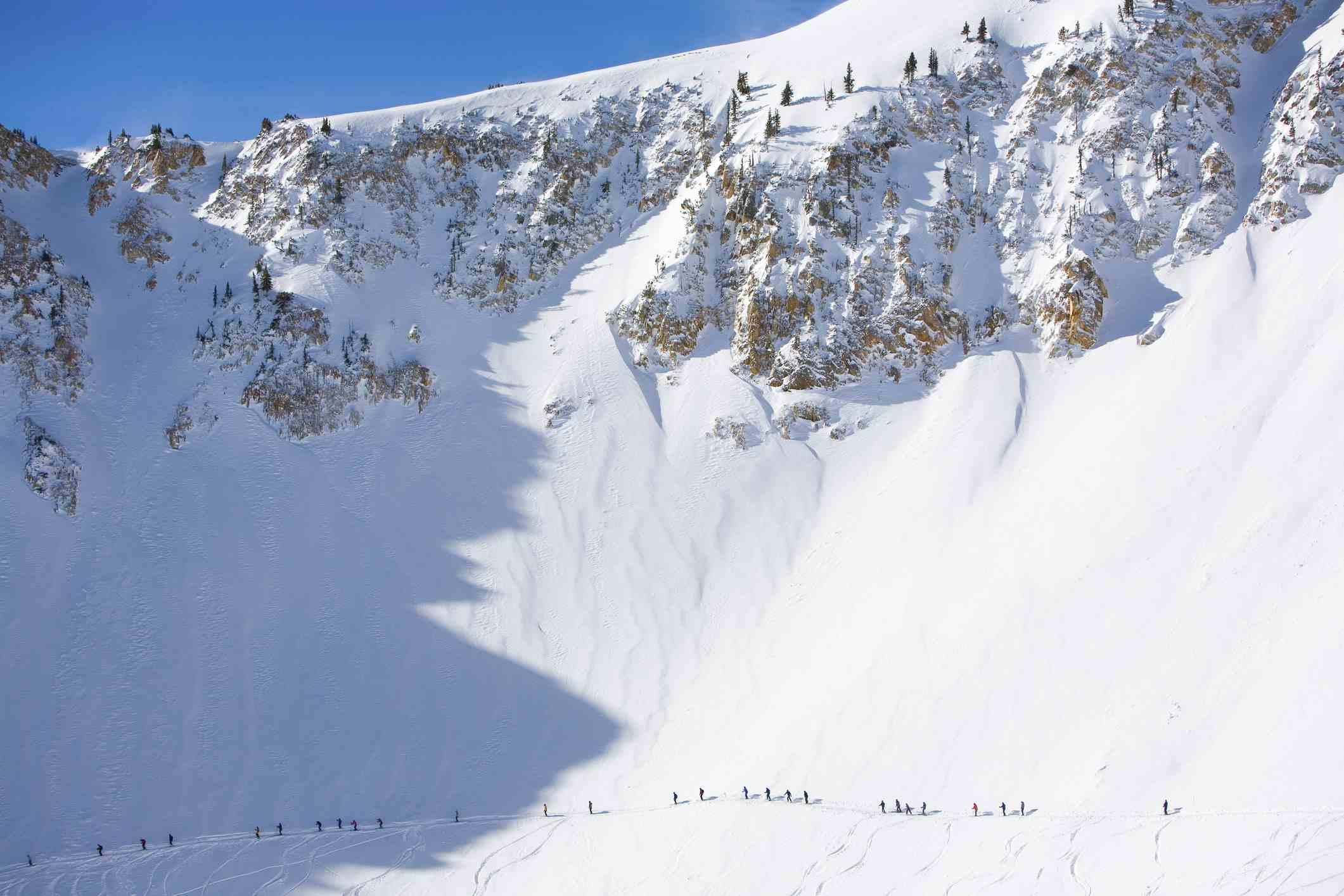 Skiers in Little Cottonwood Canyon, Utah.