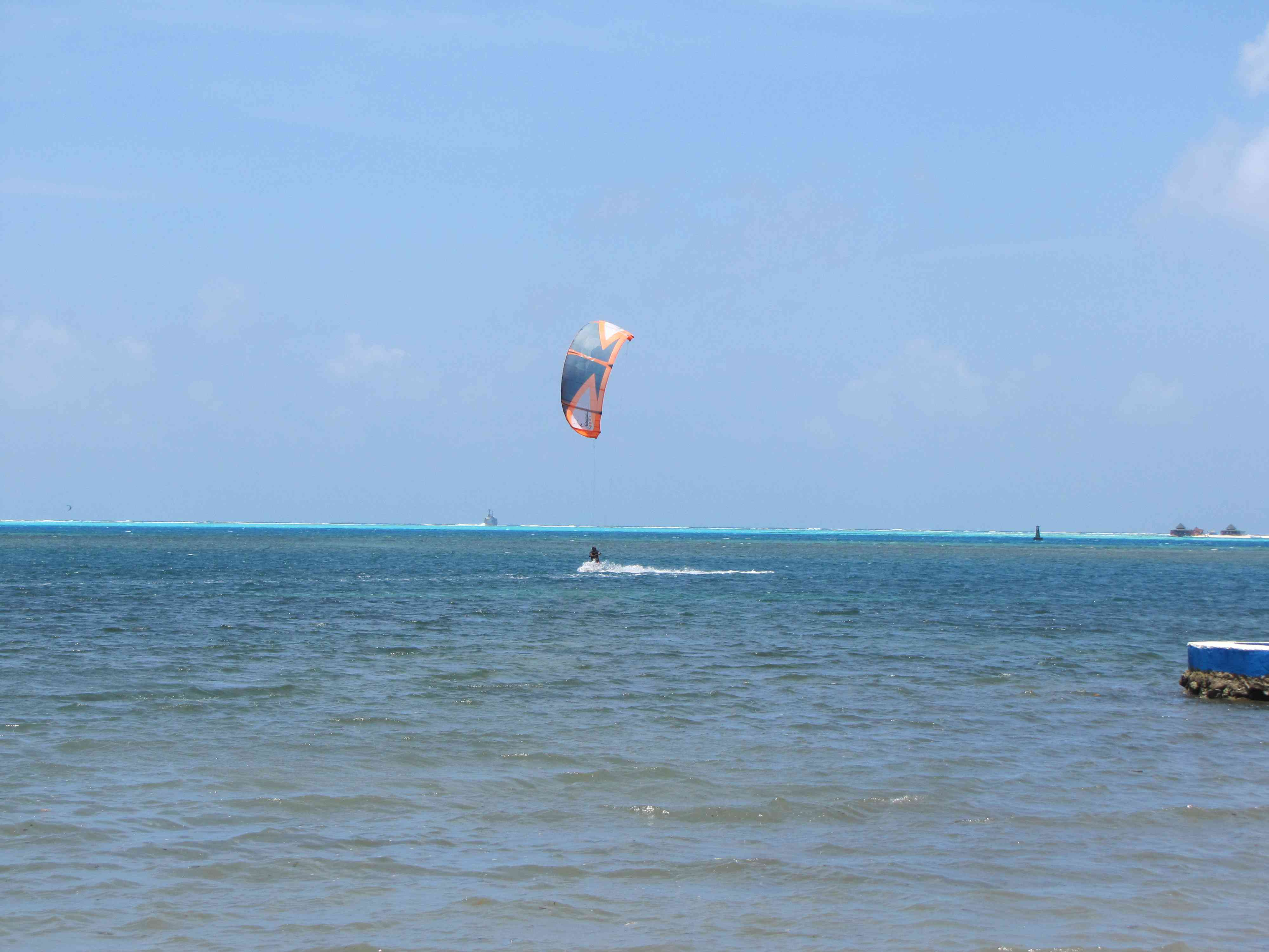 person kite surfing in san andres colombia
