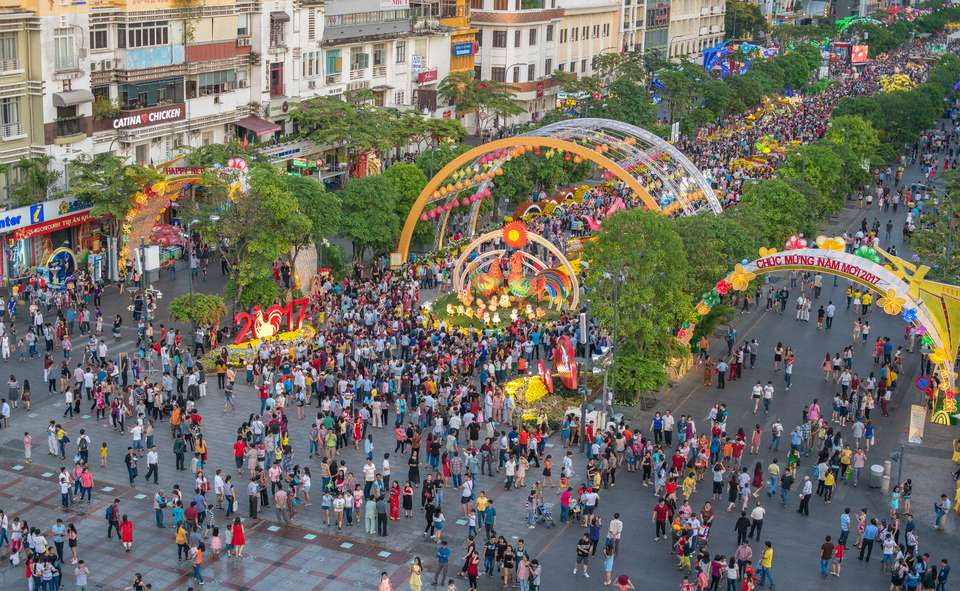 People on street for a Tet celebration in Vietnam