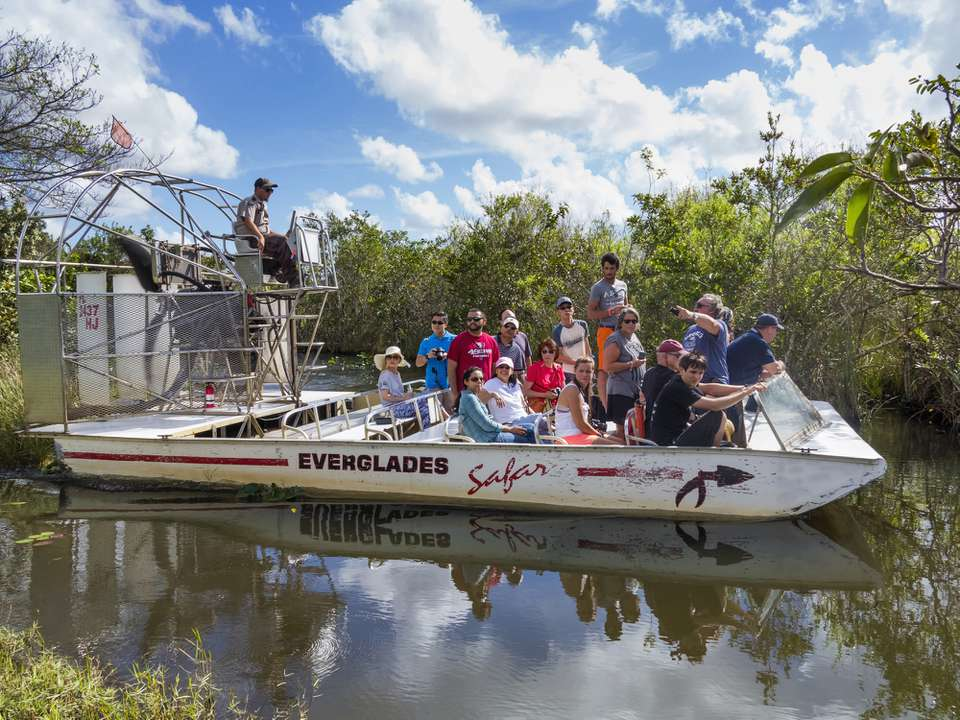 boat tour of the everglades with several people
