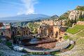 The Greek theatre (Teatro Greco) and Mount Etna, Taormina, Sicily