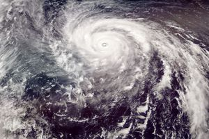 A super typhoon severe weather event moving toward Asia