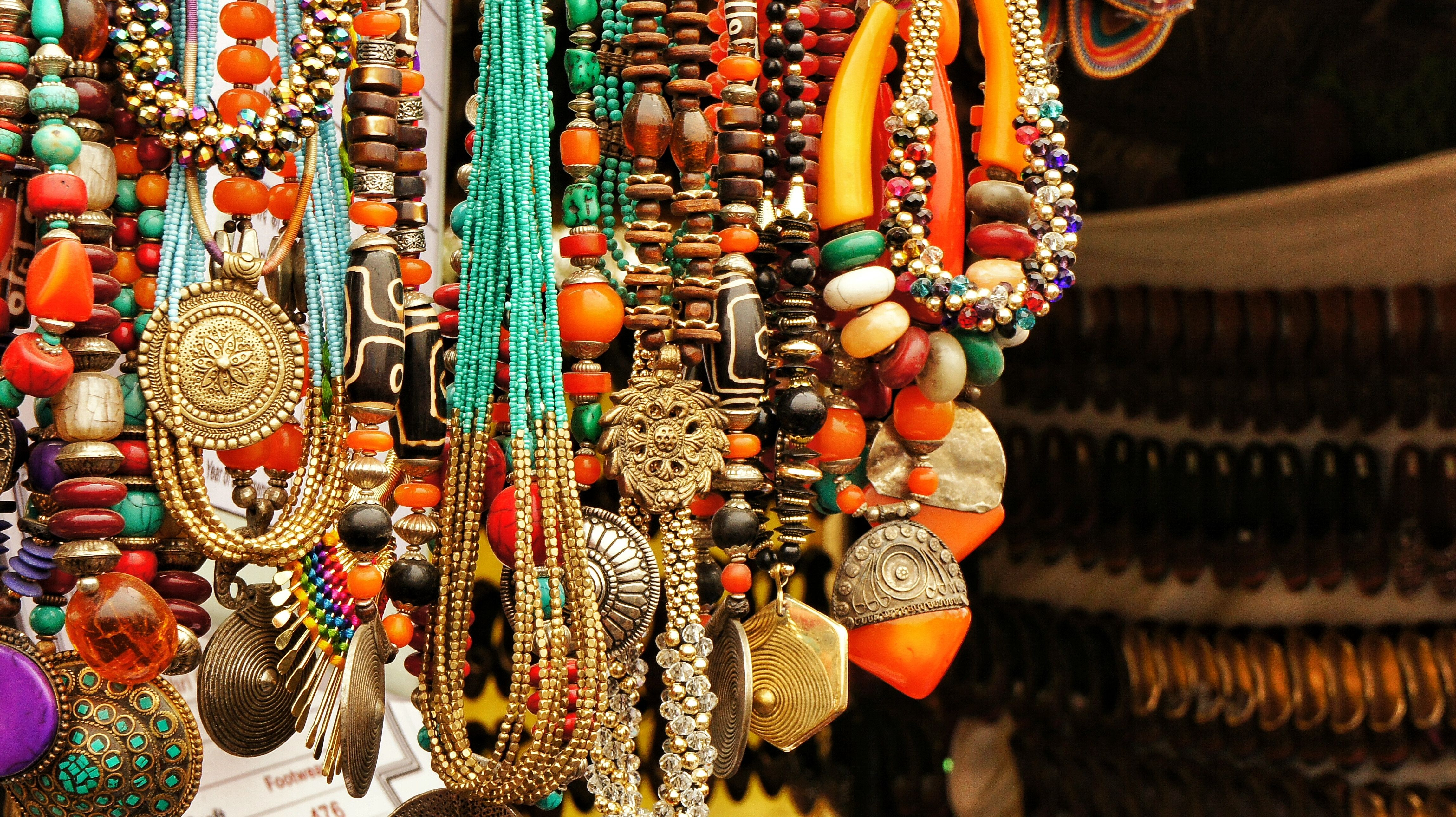Jewelry hangs for sale in Langkawi, Malaysia
