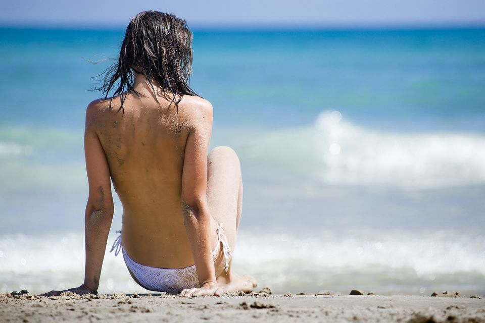 Woman on nude beach