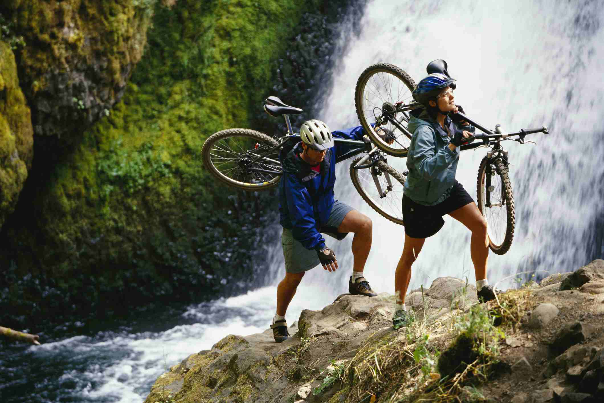 Bicyclists Carrying Bicycles through Columbia River Gorge