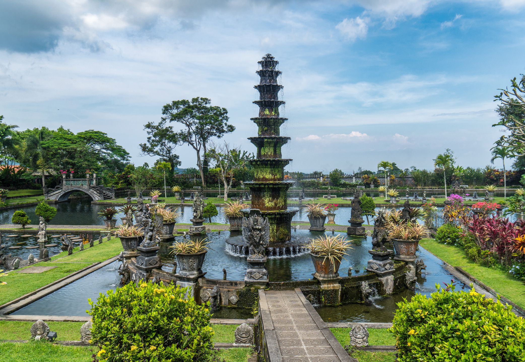 Water fall statue and pond at Tirta Gangga Water temple