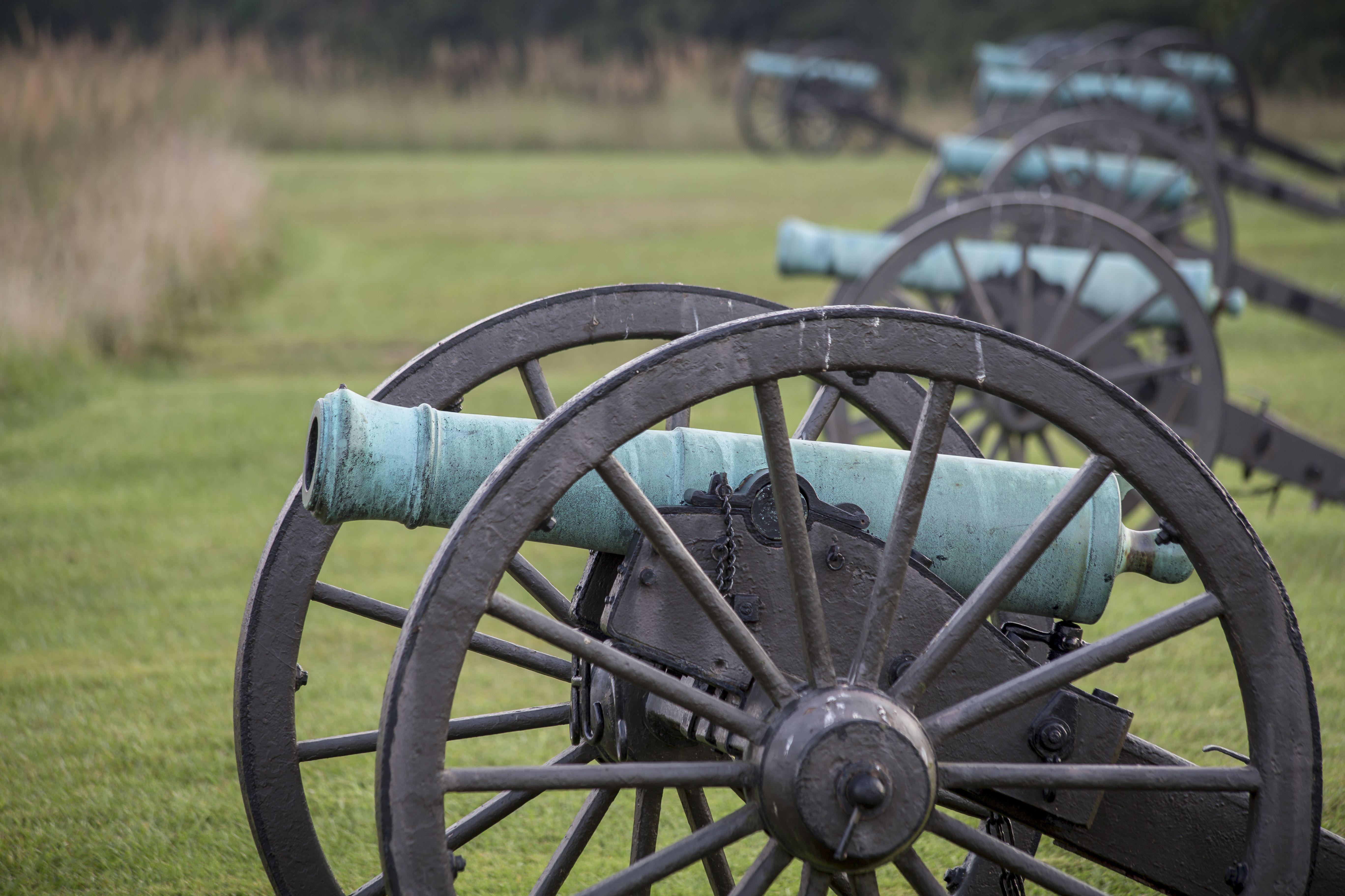 Cannons at the Manassas National Battlefield Park in Manassas, Virginia.