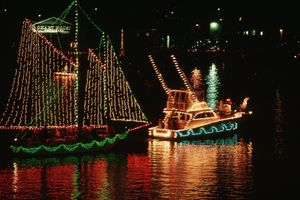 Boats decorated with Christmas lights